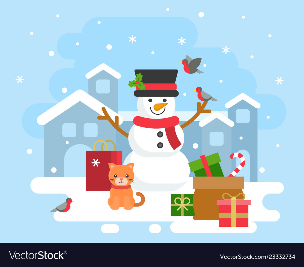 Snowman winter theme background for christmas
