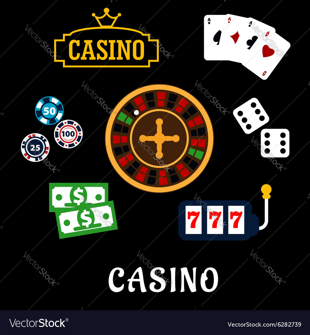 Casino flat icons with gambling symbols