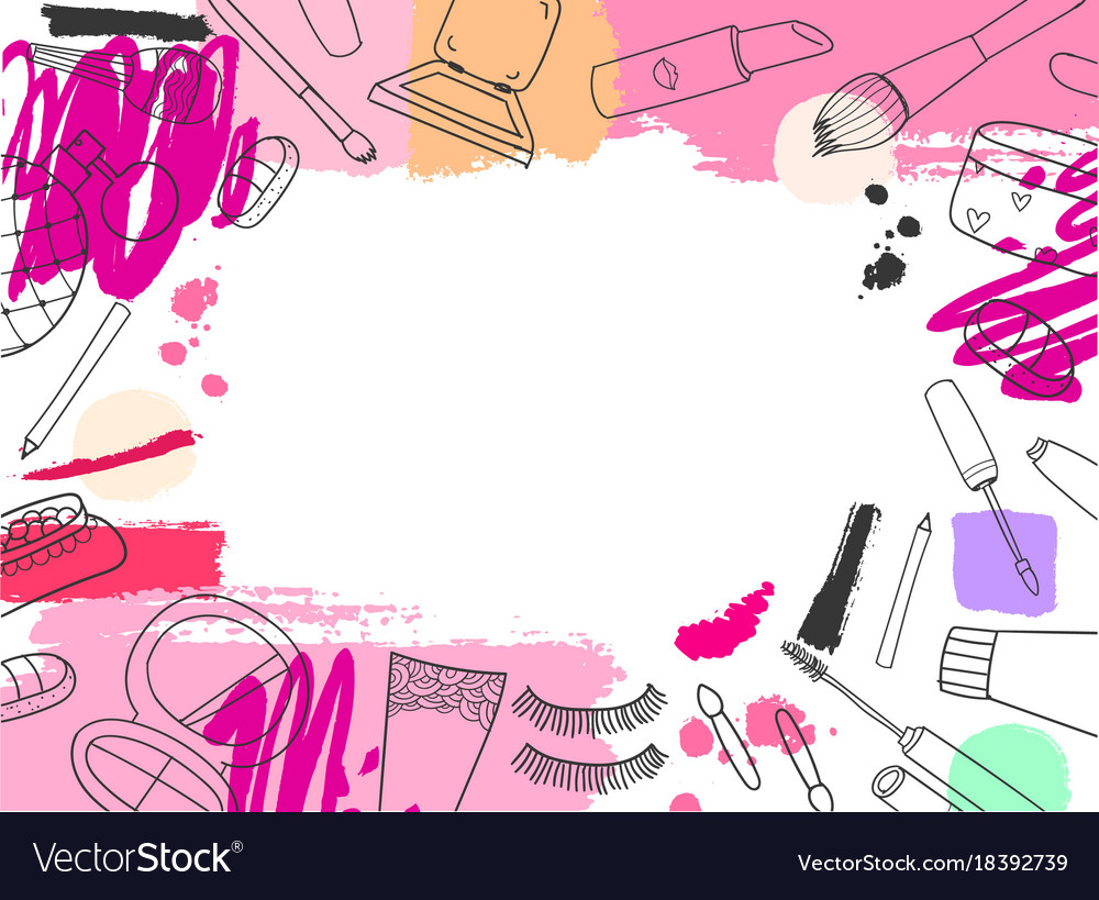 cosmetics banner background hand drawn royalty free vector