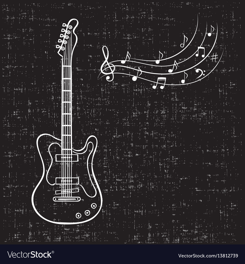 Electric guitar and music notes hand drawn