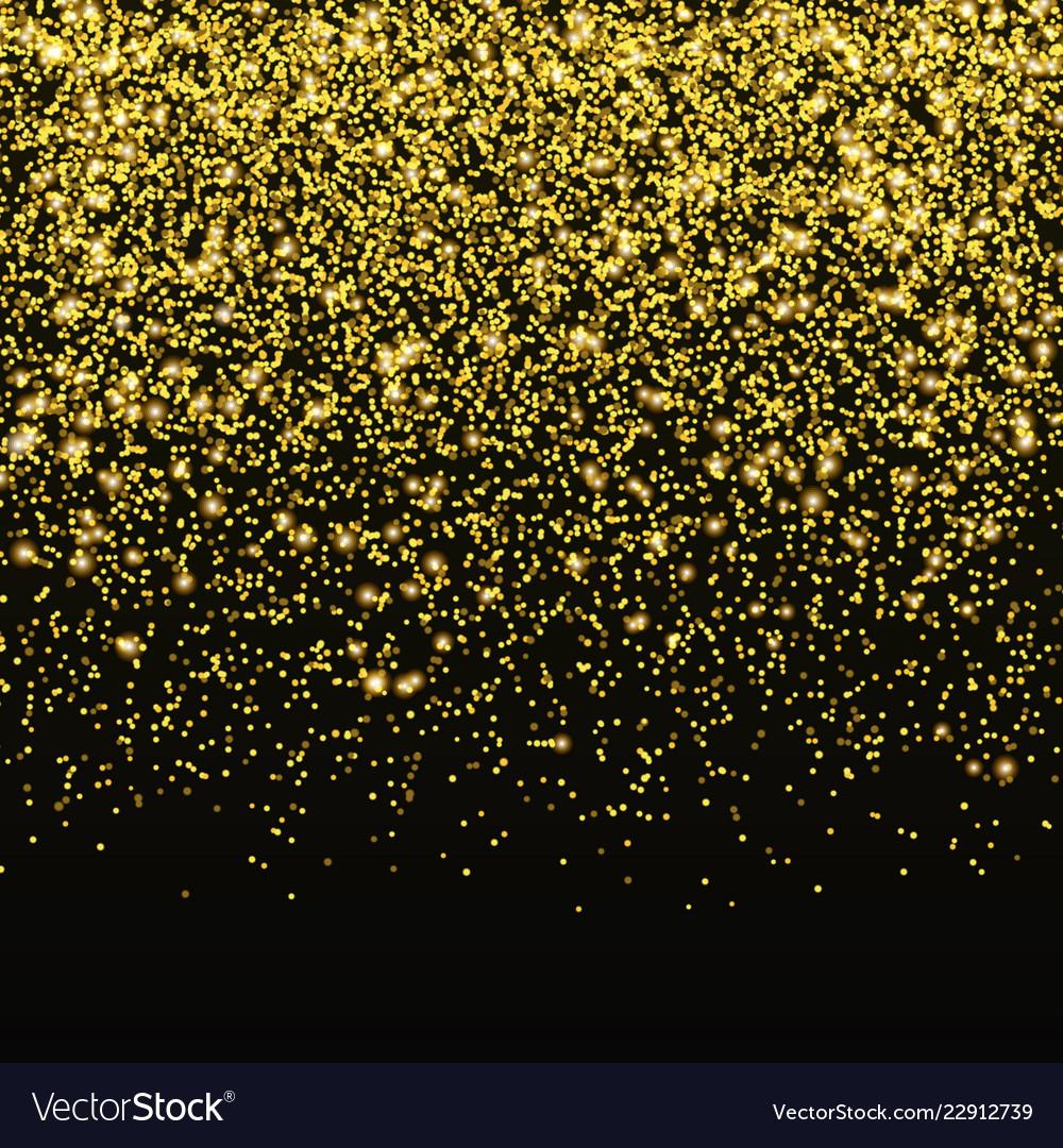 Gold glitter confetti falling golden star