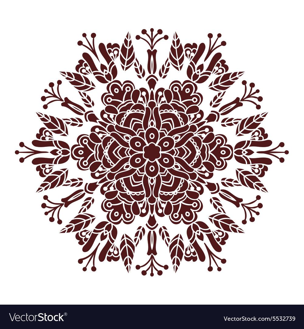 Hand drawing zentangle mandala element in marsala