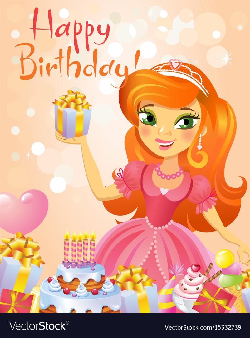 Happy Birthday Princess Greeting Card Royalty Free Vector