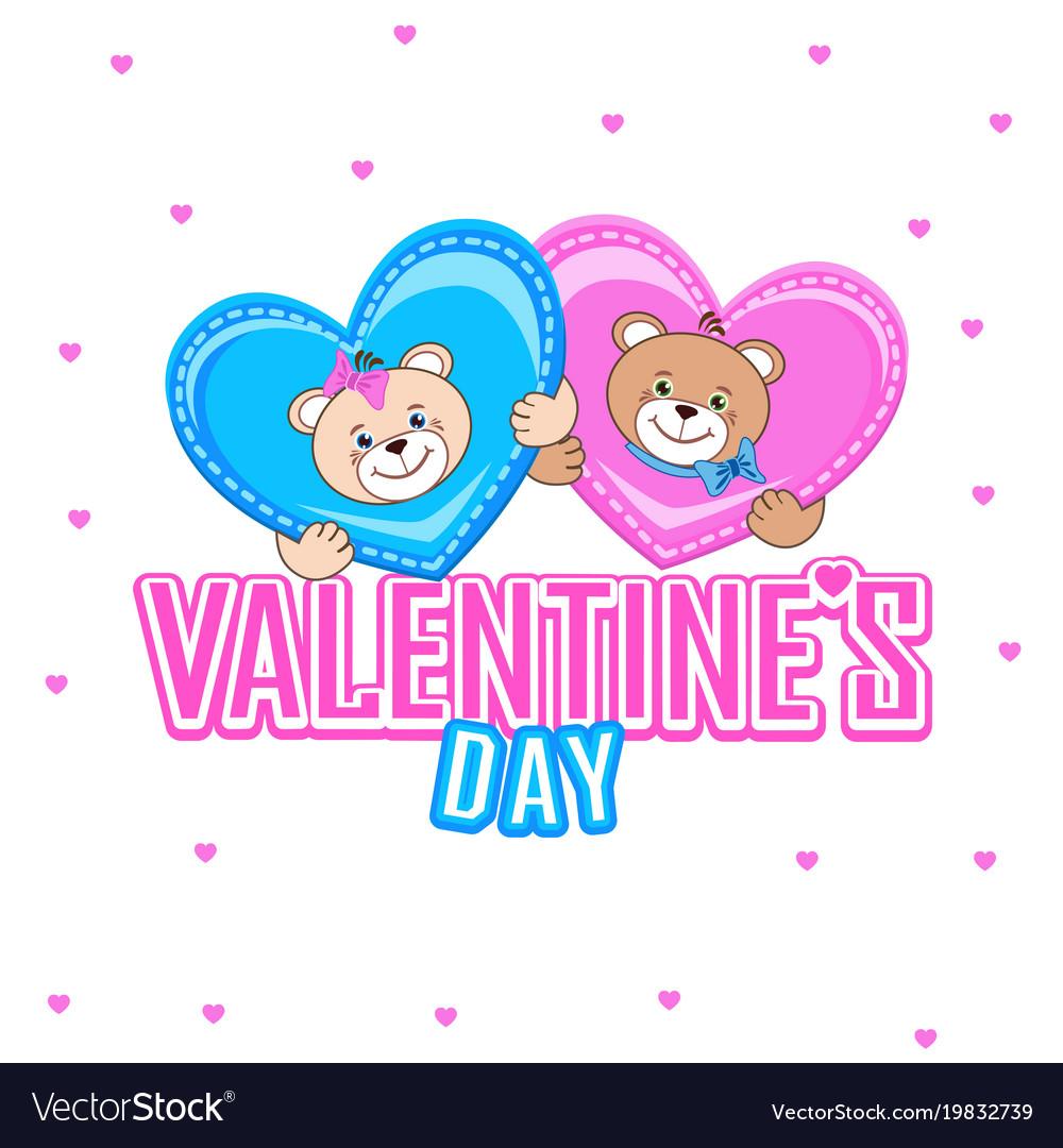 Postcard with a teddy bear and lovely hearts