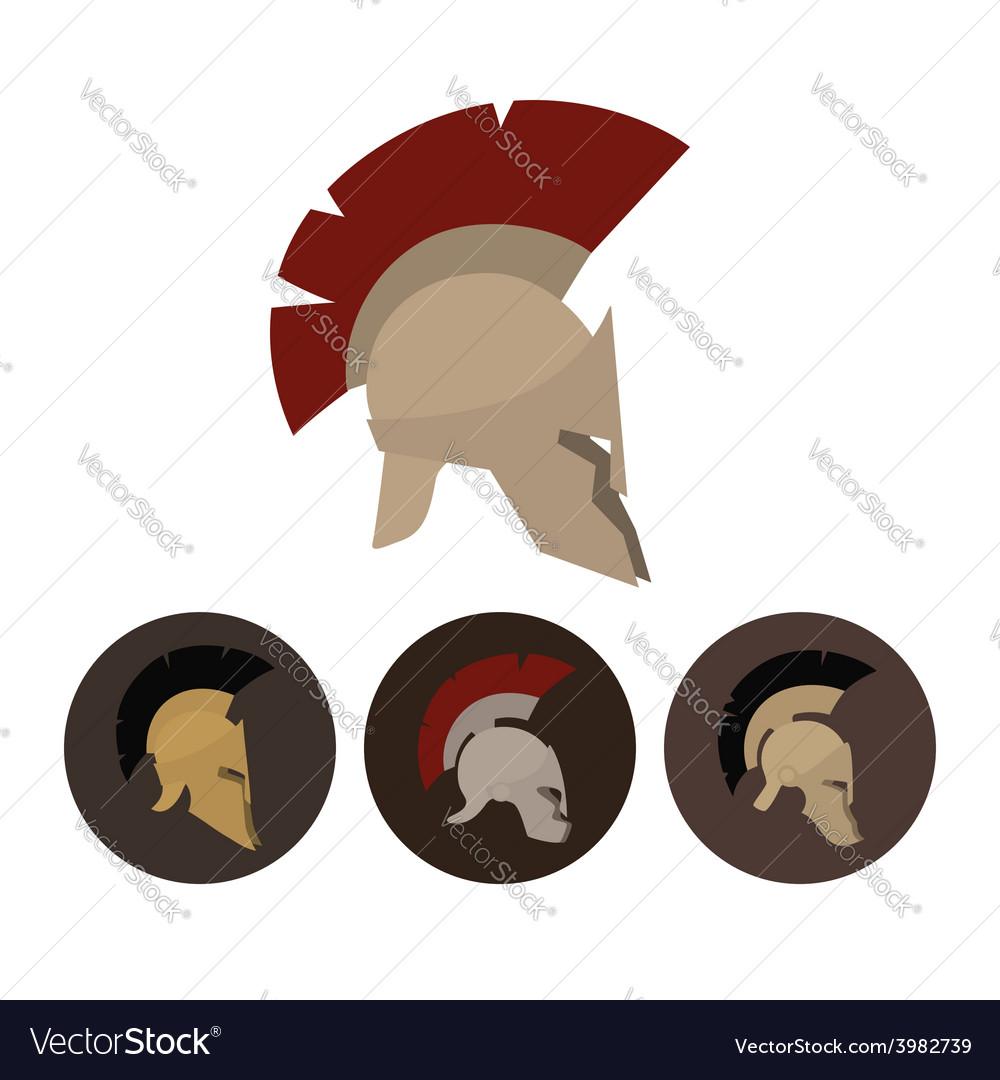 Set of four antique helmets