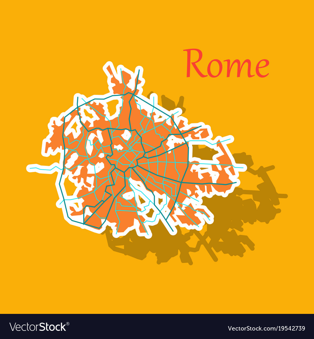 Sticker city map of rome with well organized