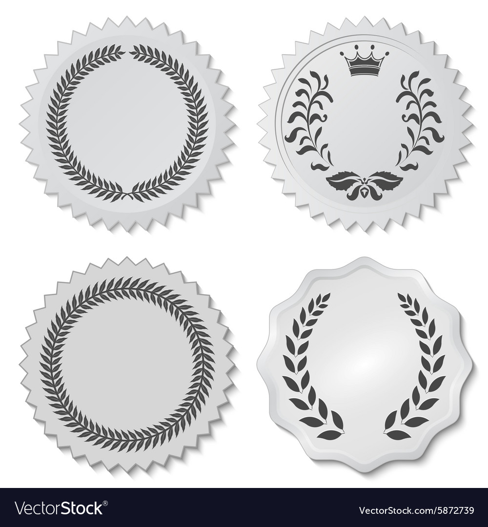 Stickers set with laurel wreaths vector image