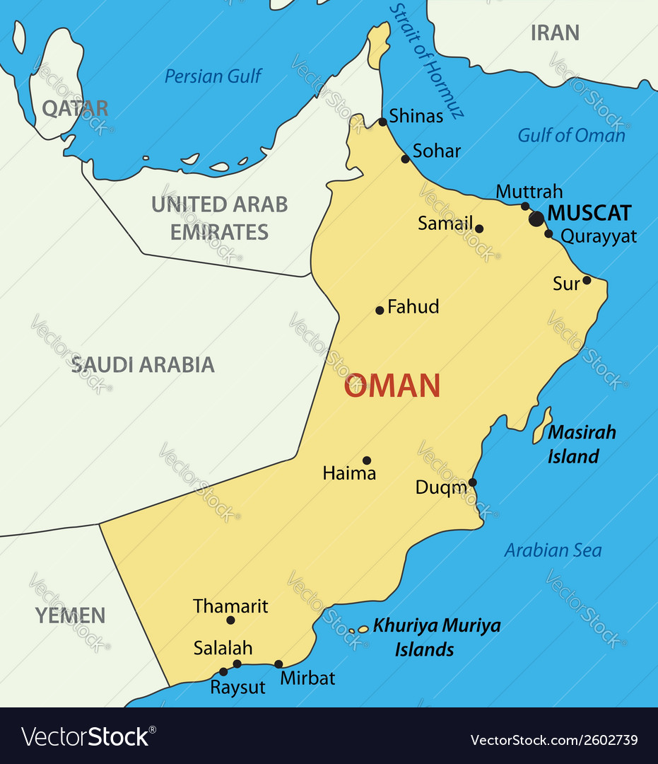 Map Of Oman Sultanate of Oman   map Royalty Free Vector Image