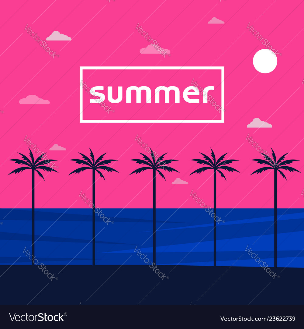 Summer holidays view poster with sea and sky
