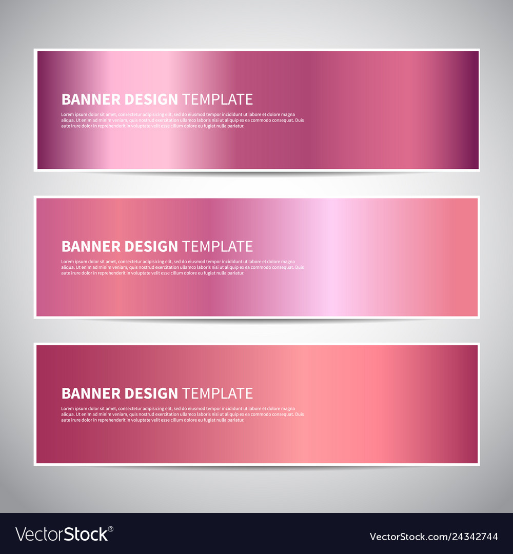 Banners rose gold or shiny pink gradient
