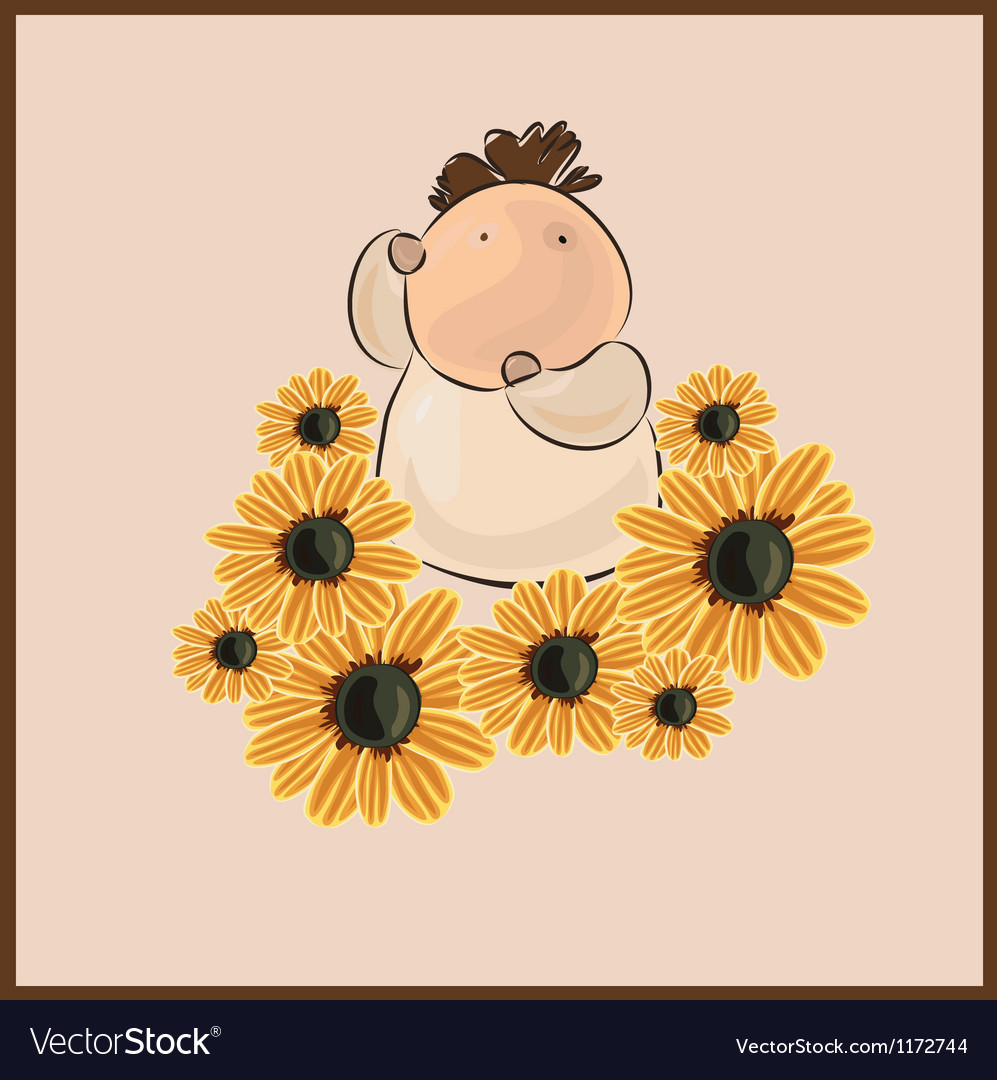 Boy with flower camomile