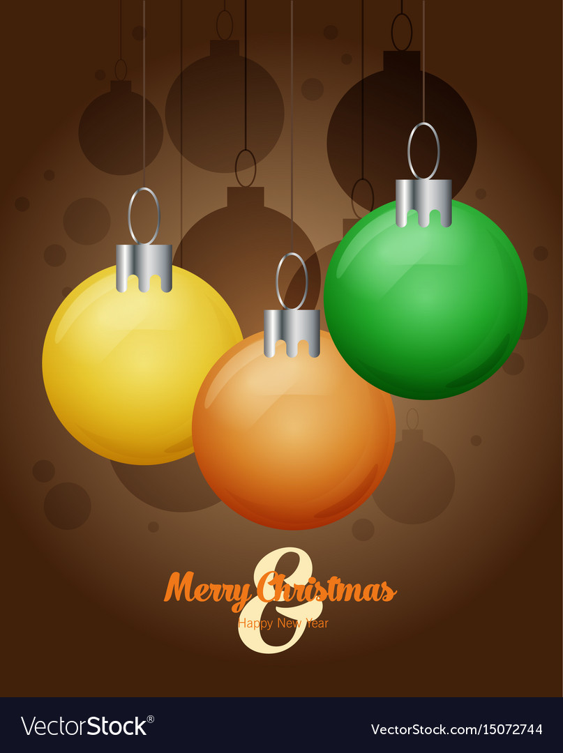 Decorative christmas balls christmas card vector image