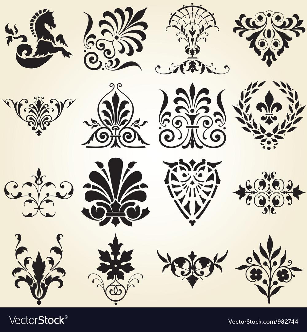 Decorative ornaments design elements