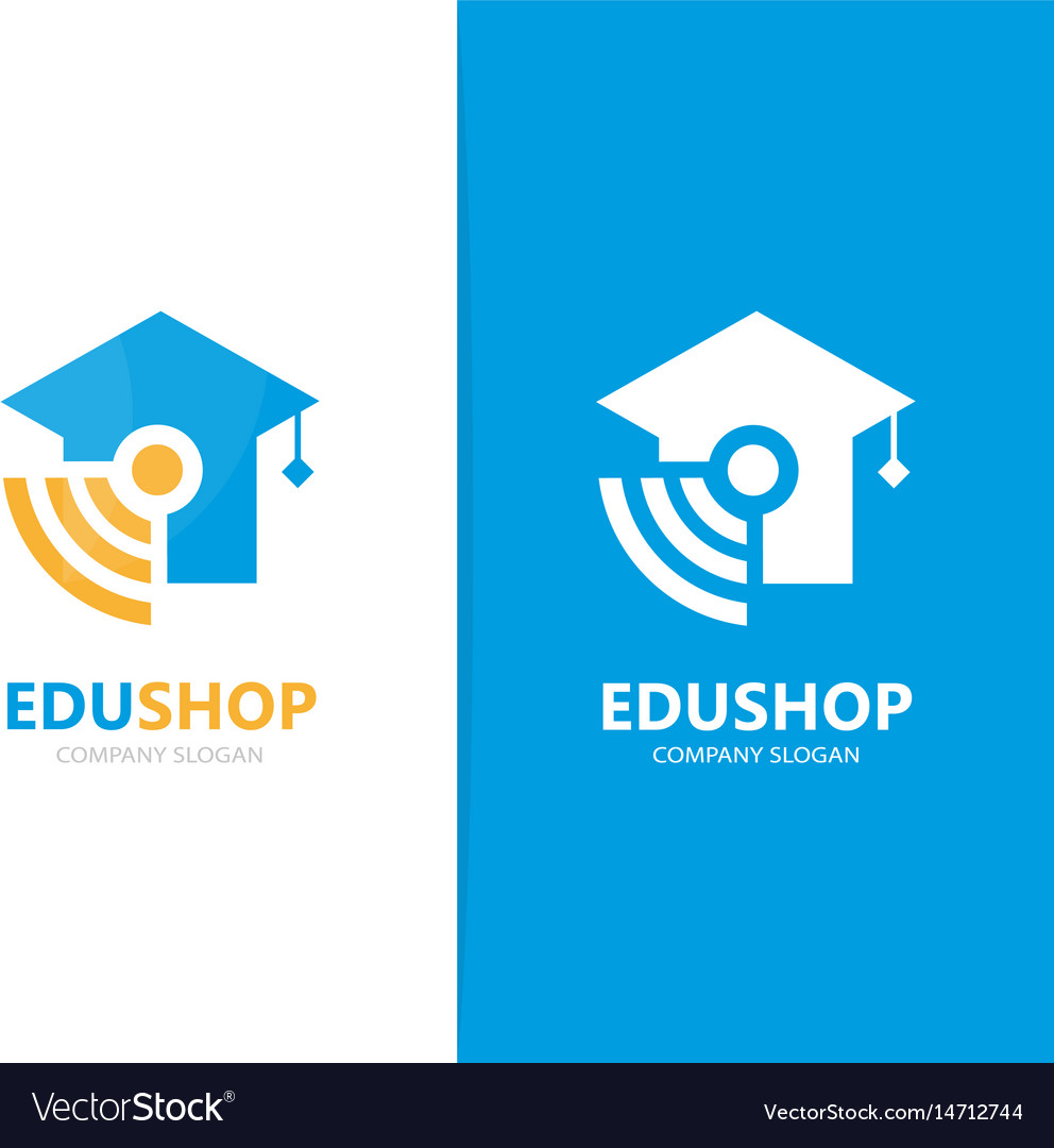 Graduate hat and wifi logo combination vector image
