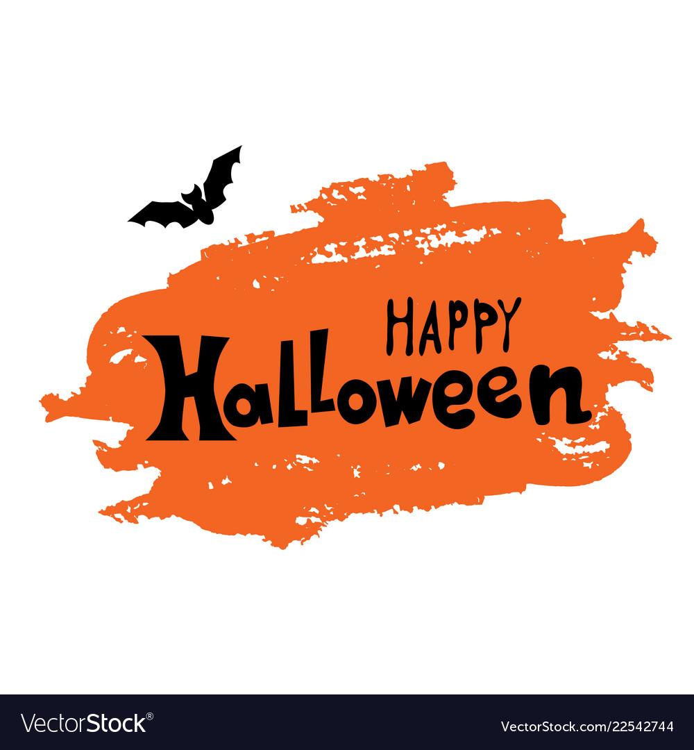 Happy halloween text banner with bat on orange