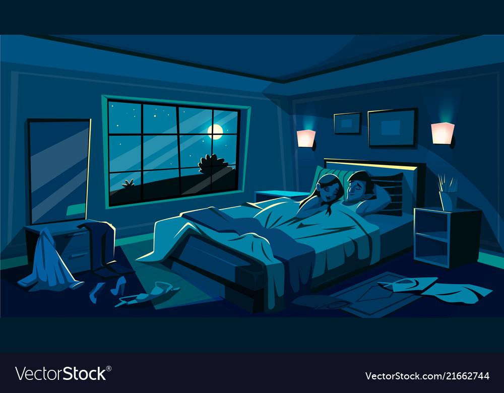 Lovers sleep in bedroom bed