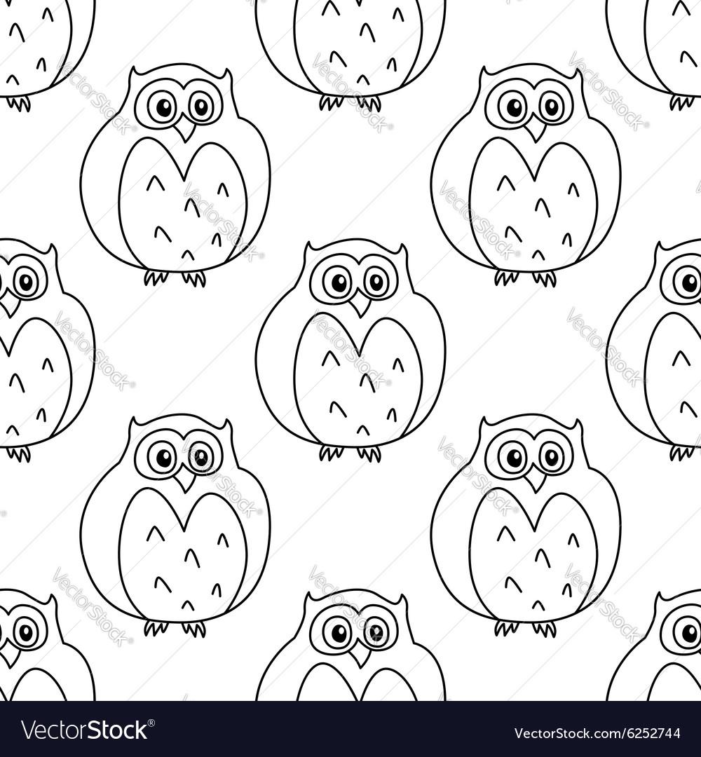 Outline owls retro seamless pattern