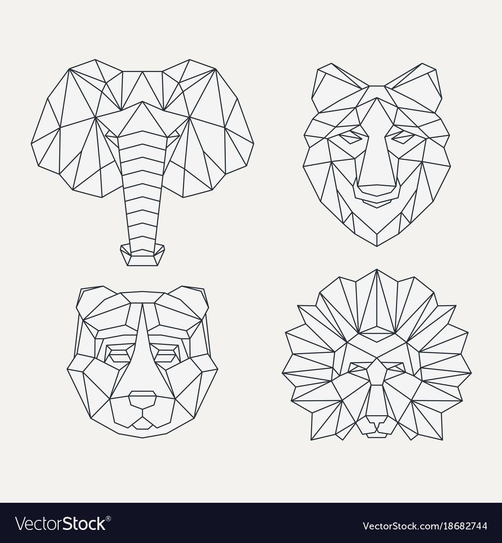 polygonal geometric animals royalty free vector image
