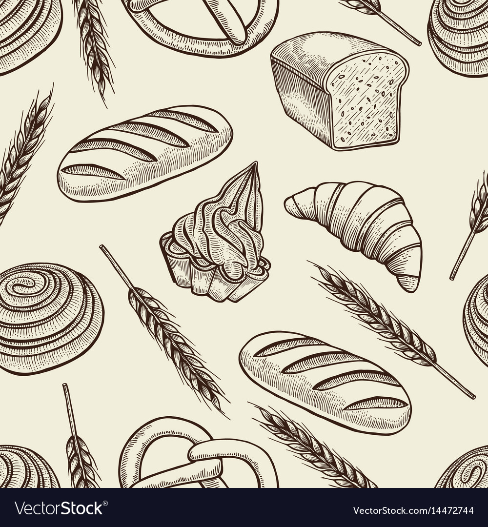 Seamless pattern with baking elements