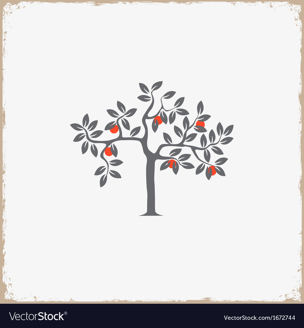 Silhouette of apple tree on grunge background vector image