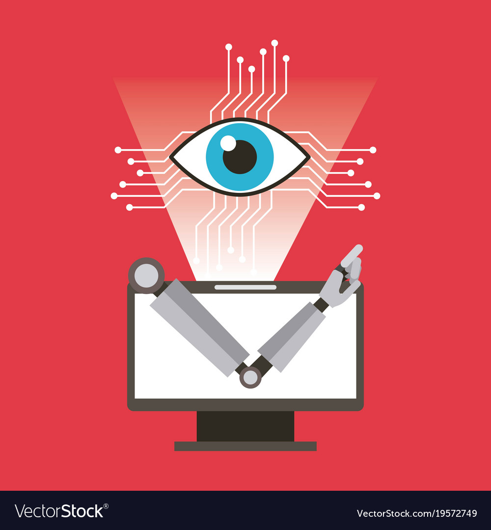 Computer robot arm and eye technology
