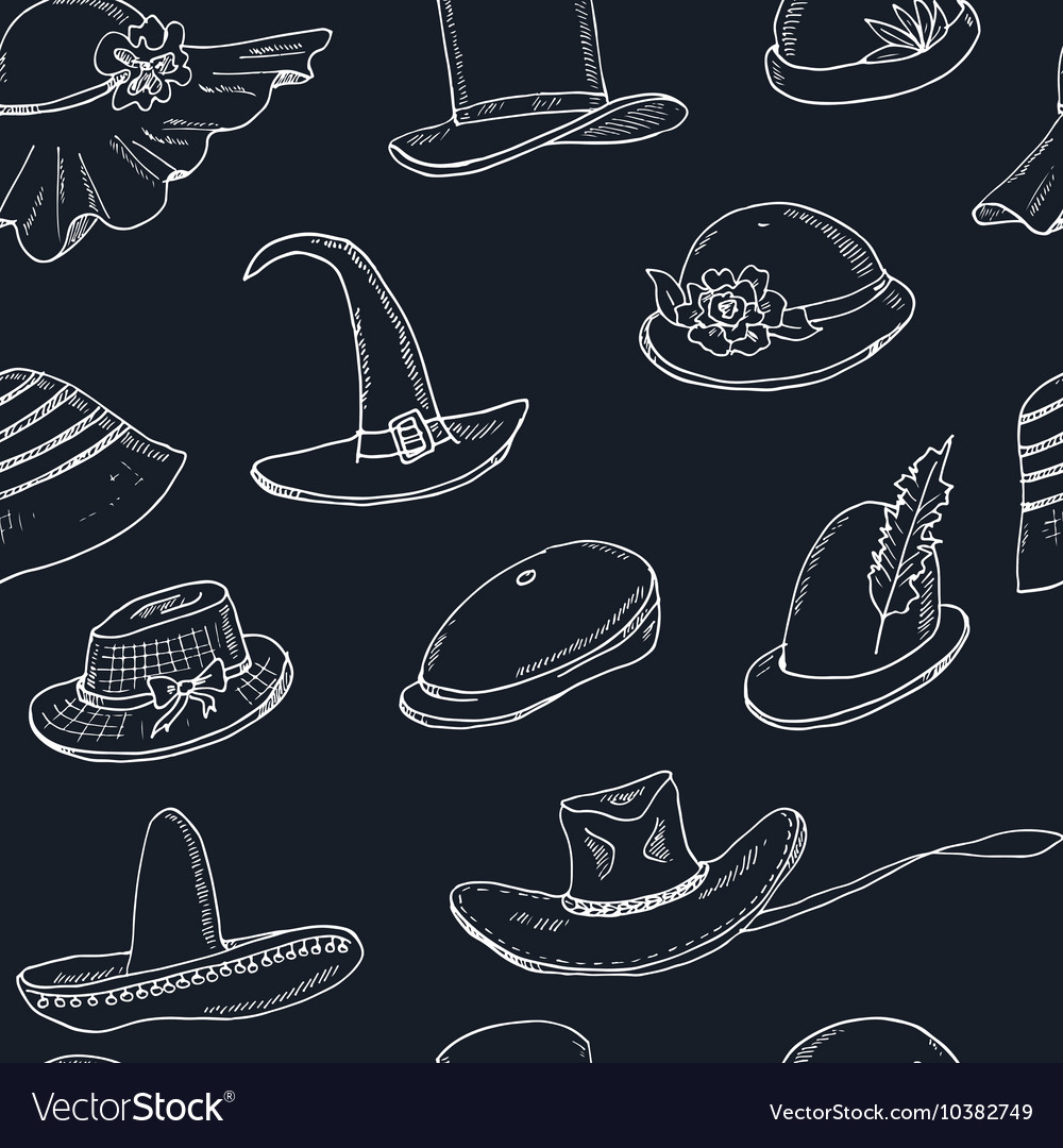 Doodle seamless pattern with different head wears