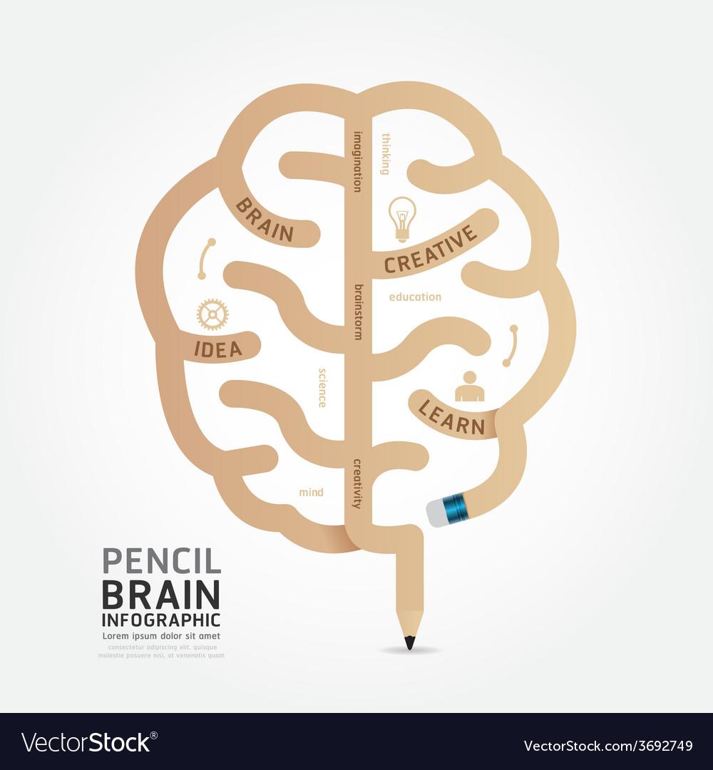 Infographics pencil brain design diagram