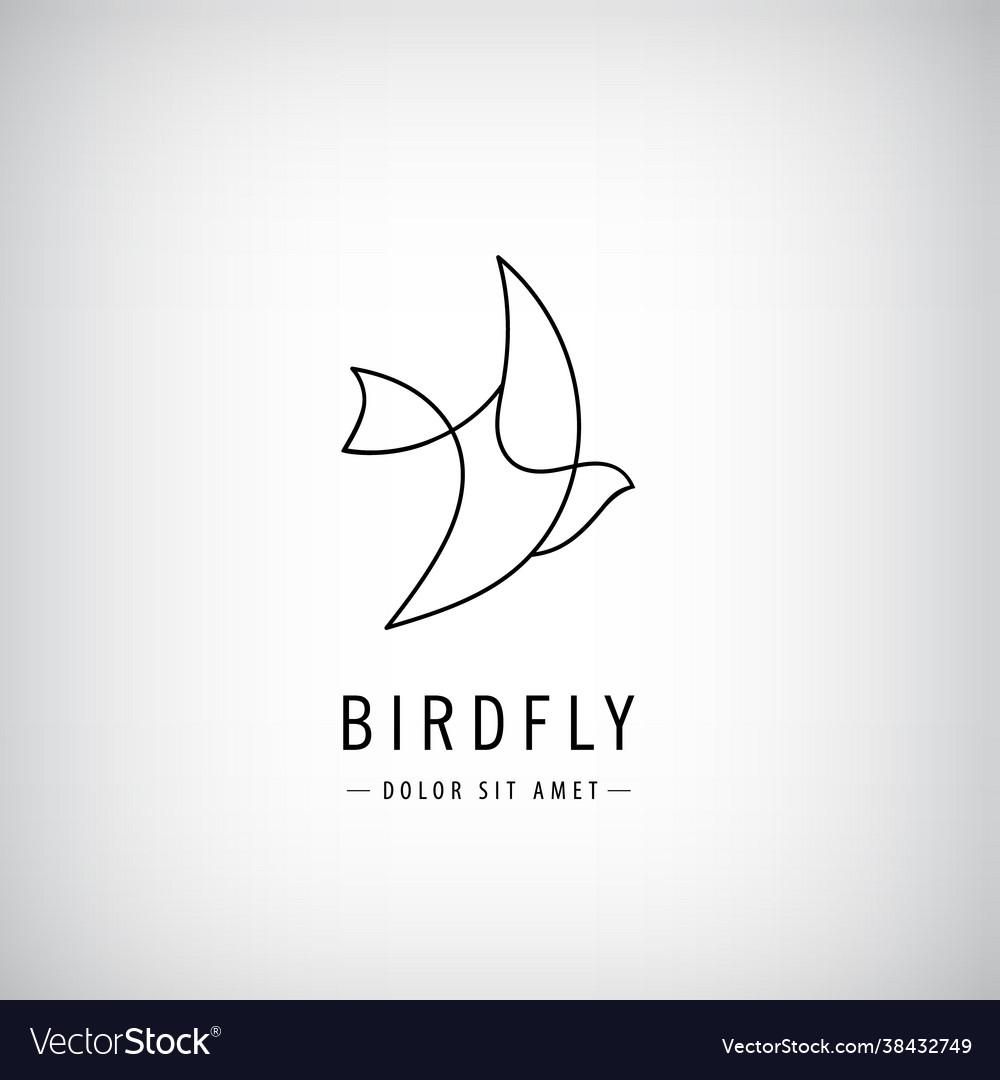 One line bird logo flying silhouette