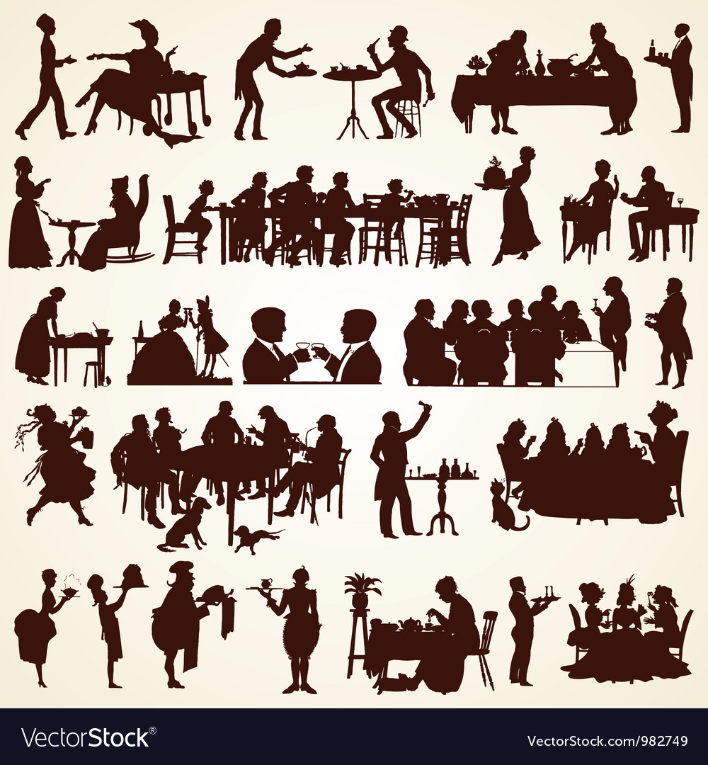 People silhouettes eating dining