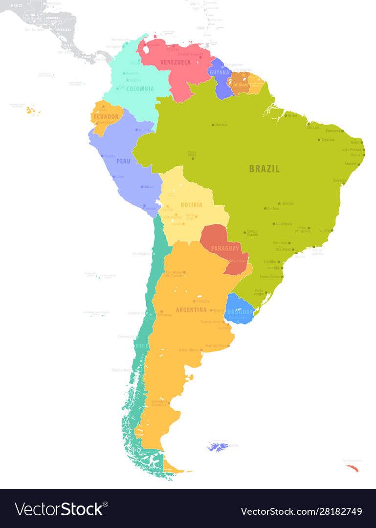 Political south america map isolated on white