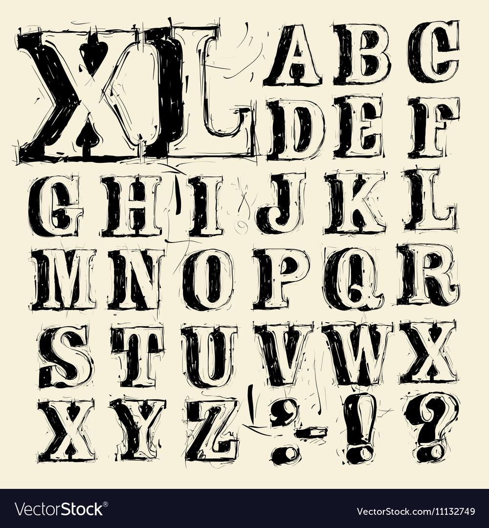 Scribbled capitals
