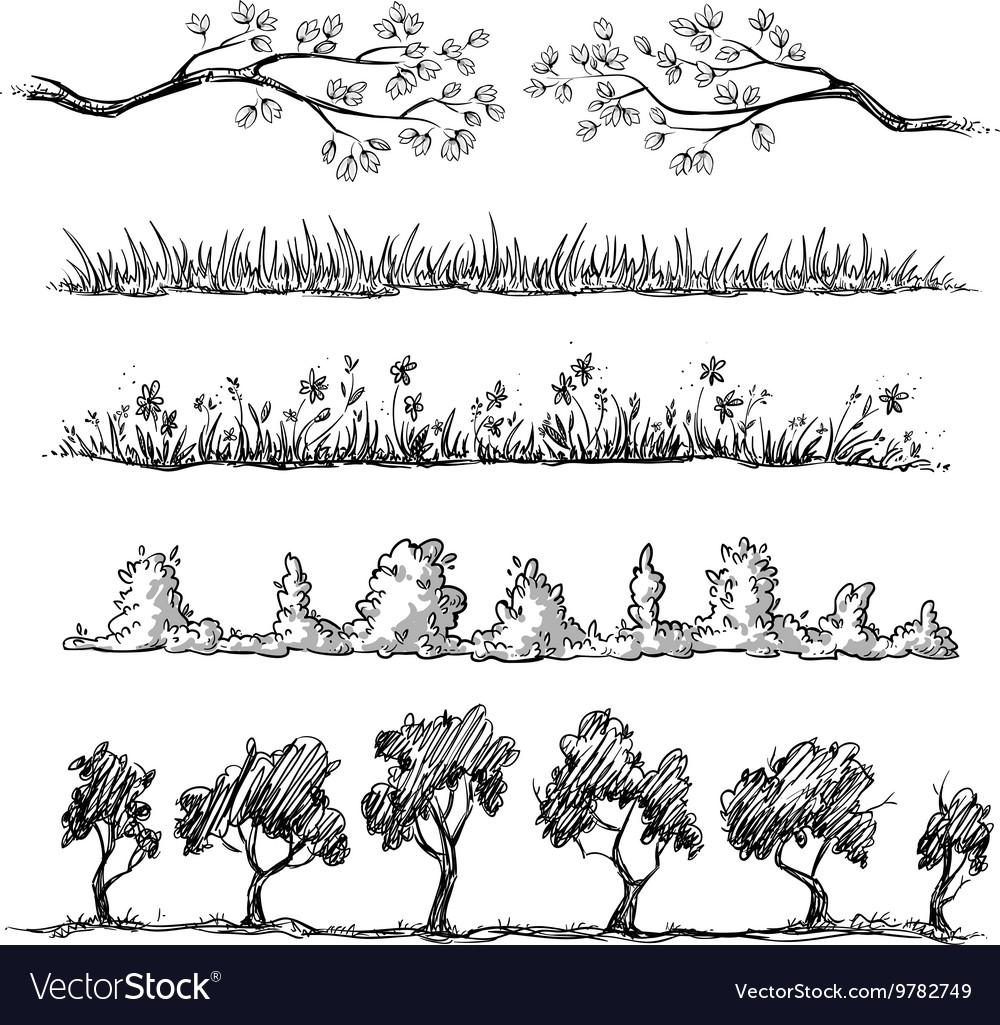 Set of nature hand drawn dividers