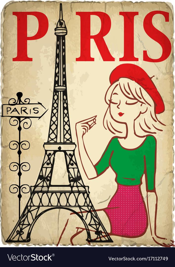 Shopping girl in paris vector image