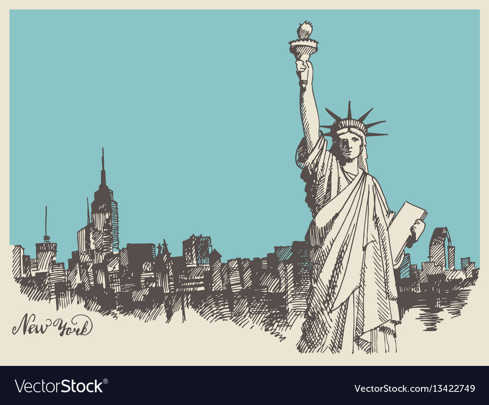 Sketch of the statue of liberty and the panorama