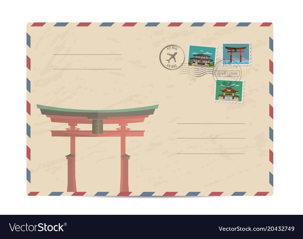 Vintage postal envelope with japan stamps