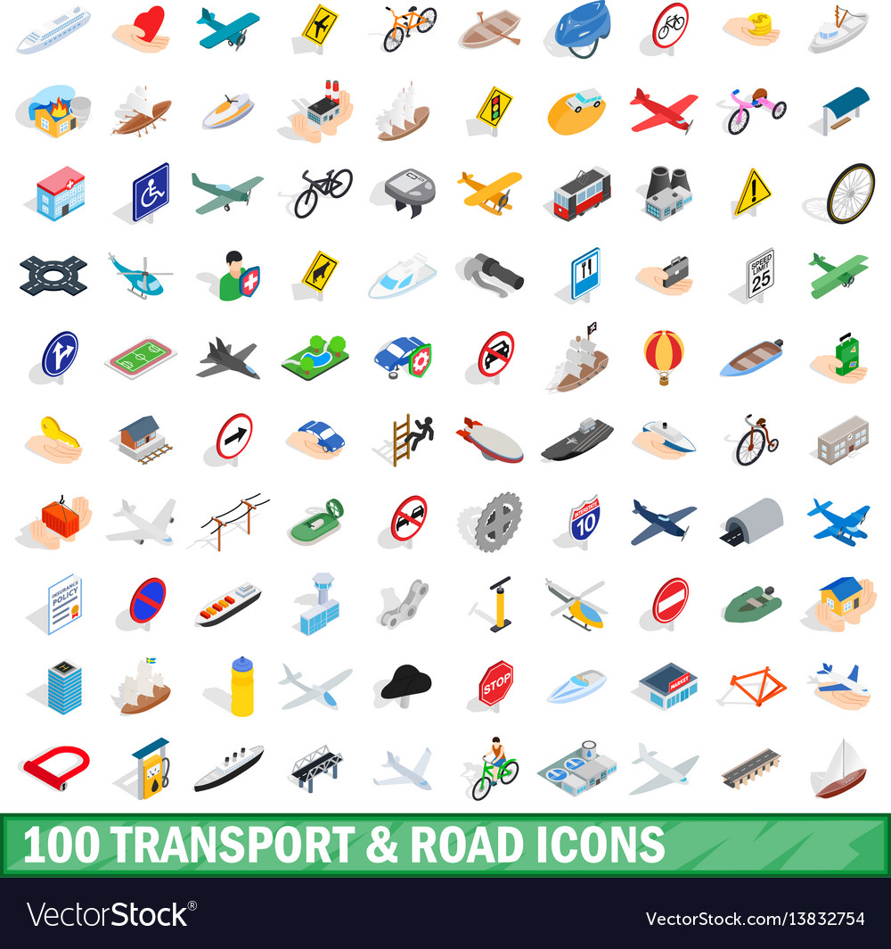 100 transport and road icons set isometric style