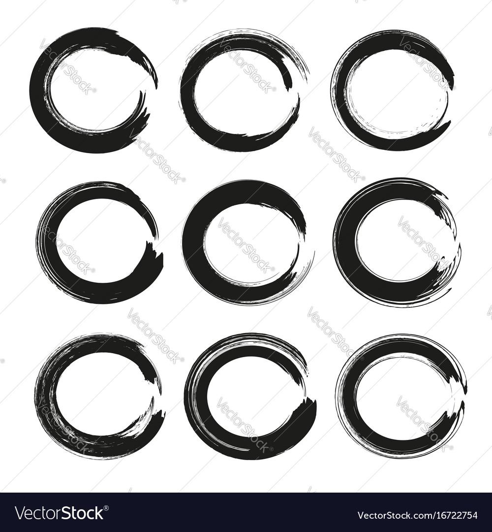 Abstract circles set frames of thick black vector image