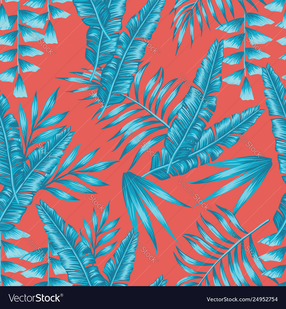 Blue tropical leaves seamless living coral
