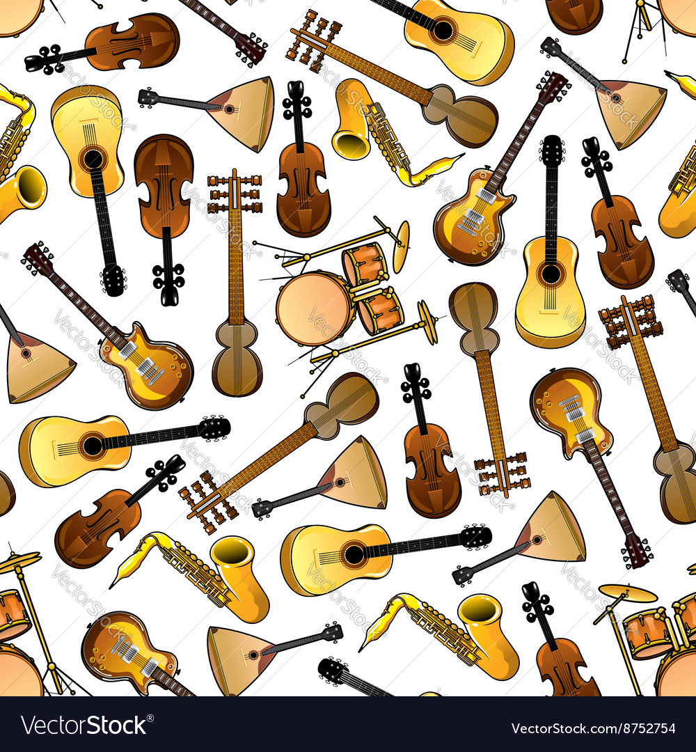 Classic ethnic music instruments seamless pattern vector image