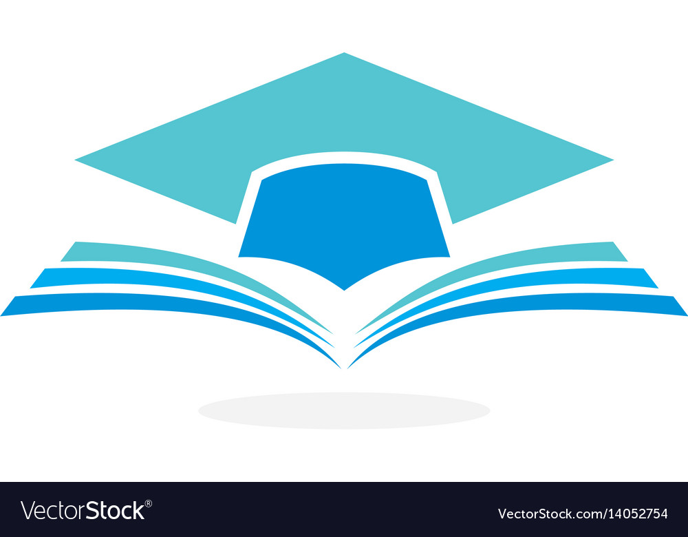 Education logo concept with graduation cap and ope vector image