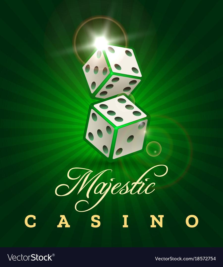 Gambling dice casino poster on green