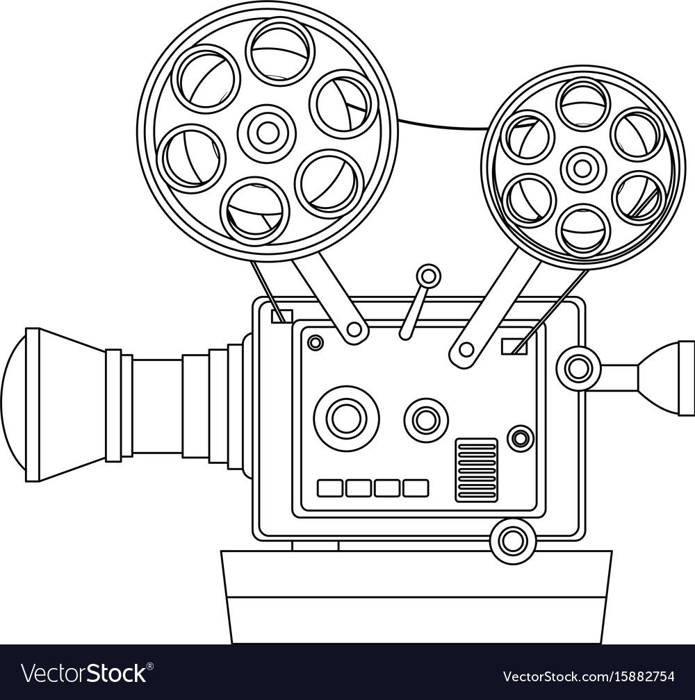 High detailed vintage film projector cinema icon Vector Image