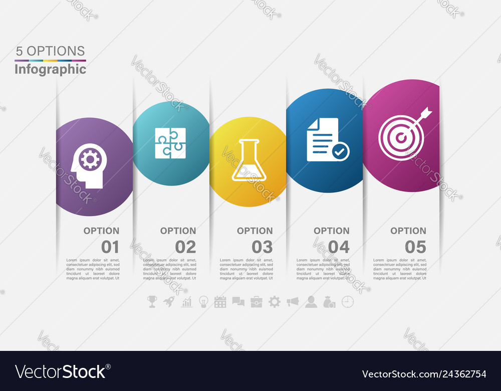 Infographic label design with icons and 5 options