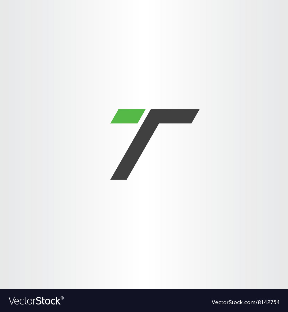 Letter t green black simple logo icon