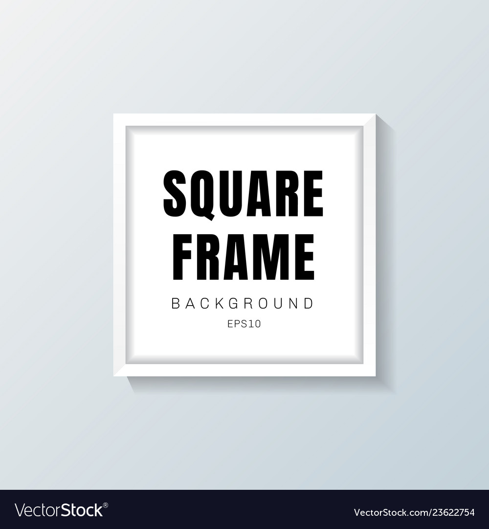 Realistic white square frame mockup on gray