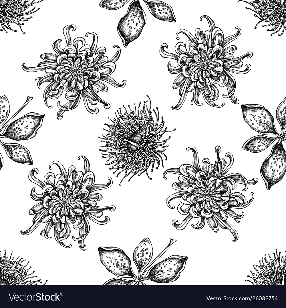 Seamless pattern with black and white japanese