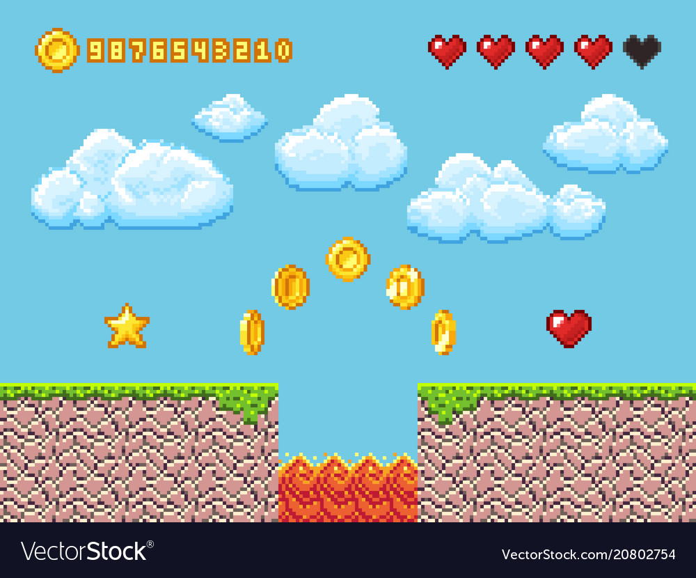 Video pixel game landscape with gold coins white