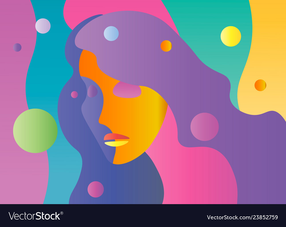 Abstract bright color young female face
