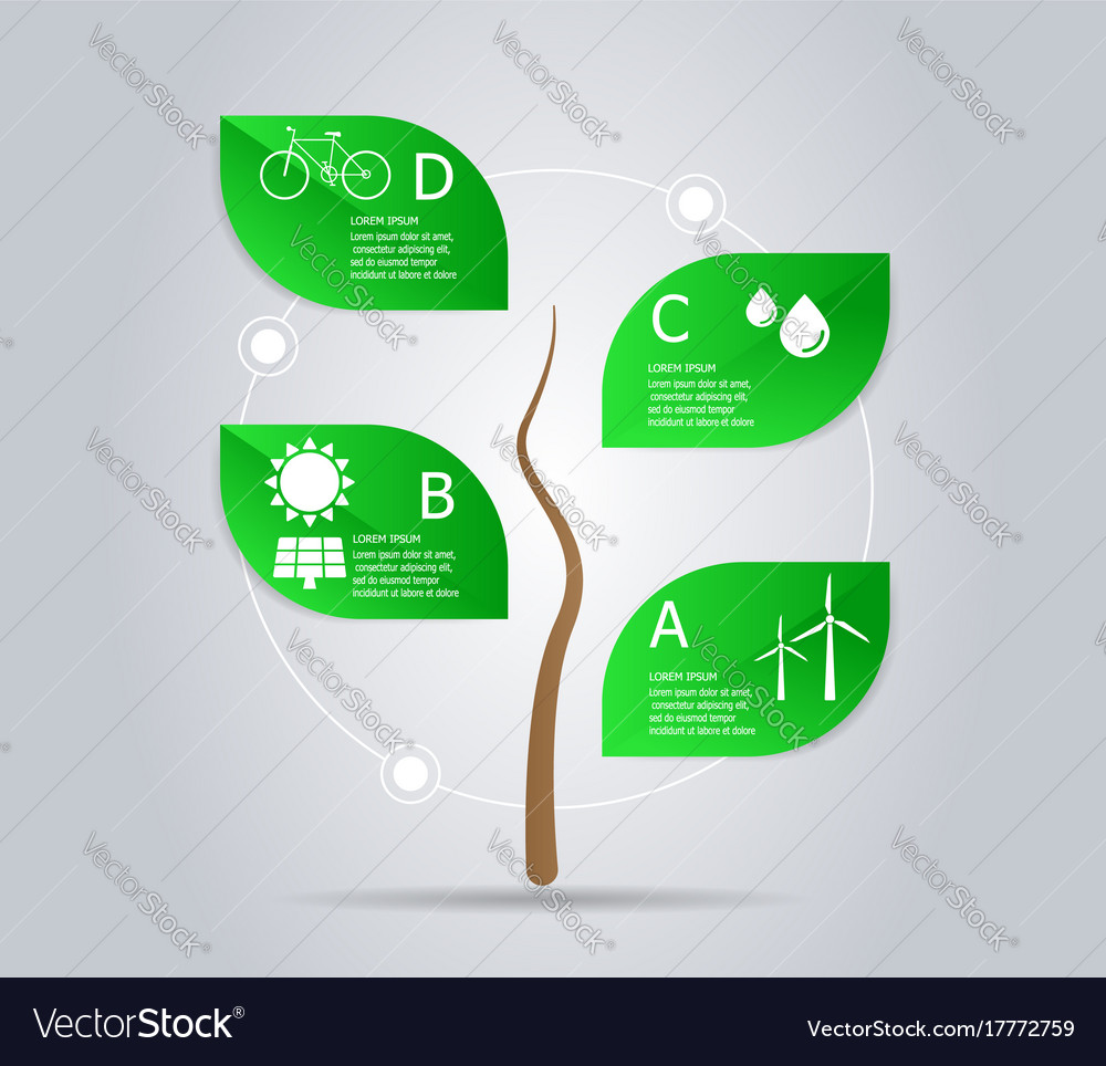 Abstract tree green power infographic element
