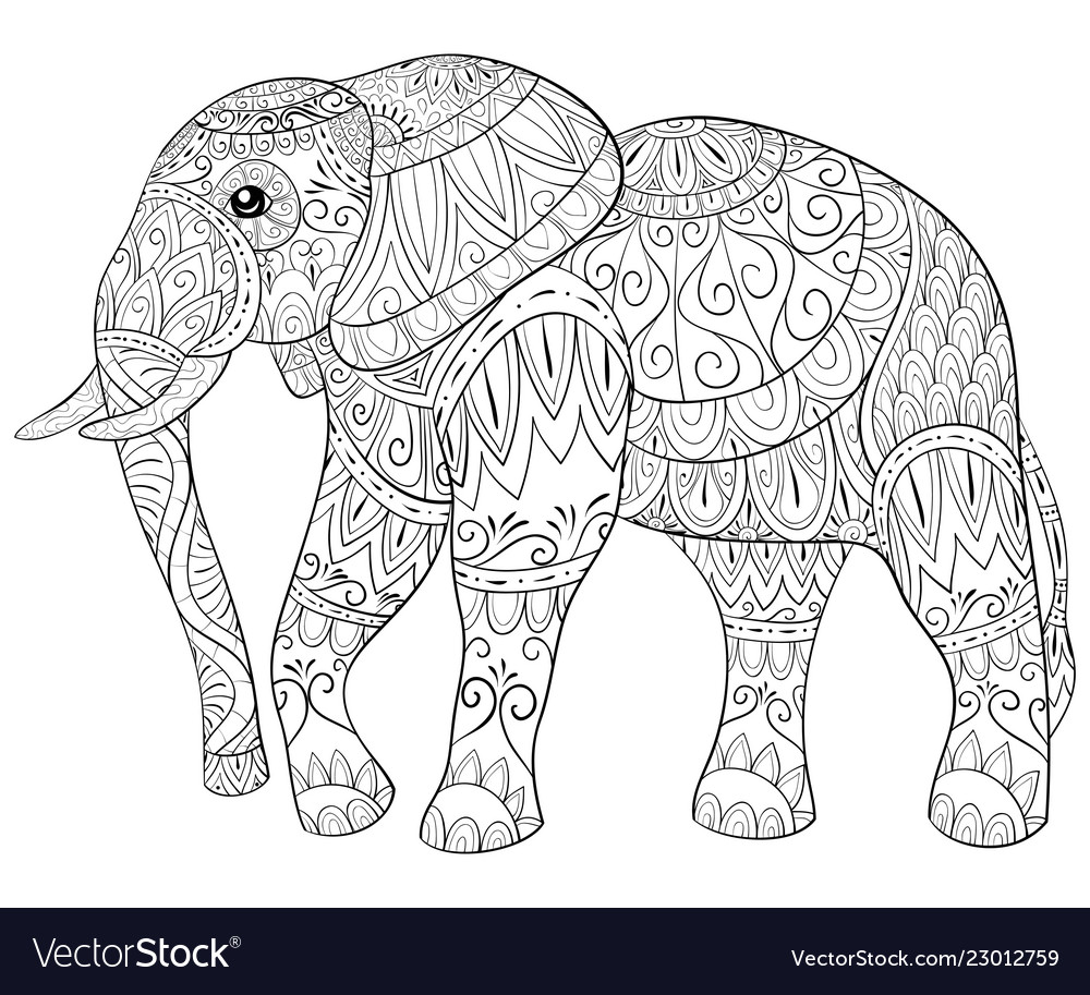 Adult coloring bookpage a cute elephant image for